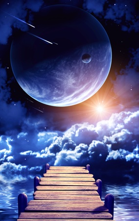 A beautiful space scene with planets and nebula Stock Photo - 9041429