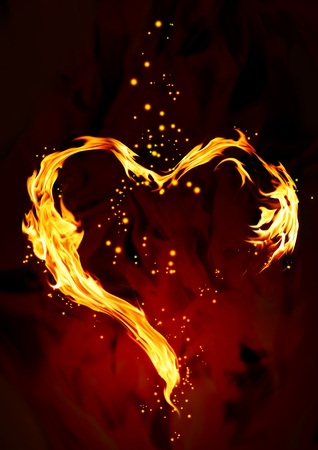infierno: Bright llama en forma de coraz�n Foto de archivo
