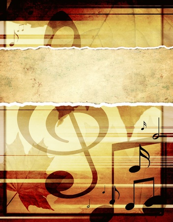 Grunge background with musical symbols  photo