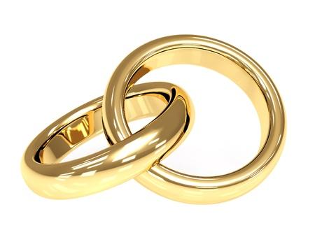 man vrouw symbool: Twee 3d Gouden trouw ringen. Objecten over white Stockfoto