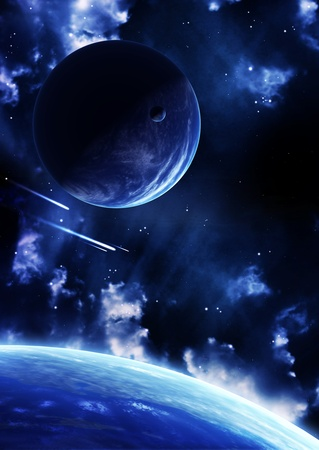 A beautiful space scene with planets and nebula Stock Photo - 9041500