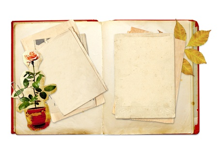 old diary: Old diary. Objects isolated over white