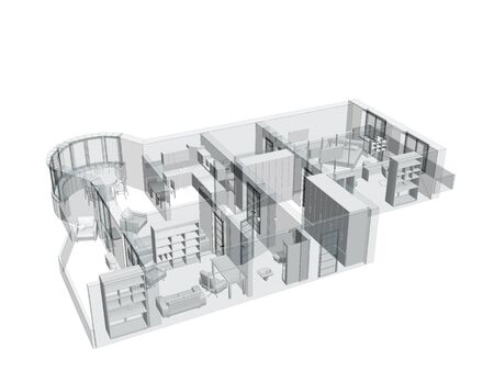 3d sketch of a four-room apartment. Isolated over white photo