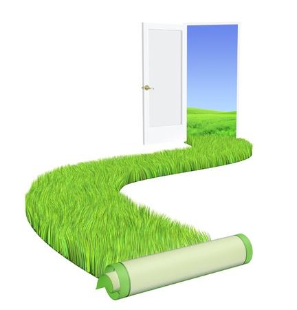 welcome door: Immagine concettuale - strada con erba verde brillante