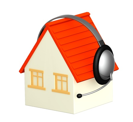 handsfree phone: House with headphone. Objects isolated over white