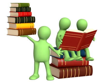 Three 3d puppets with books. Isolated over white photo