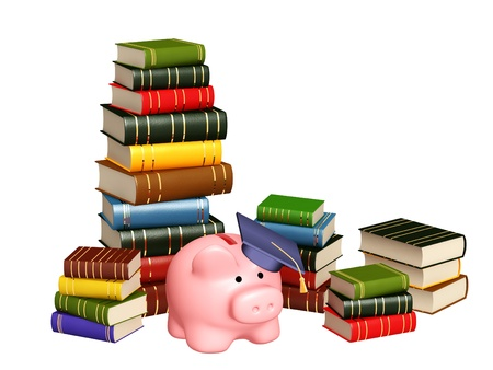 Piggy bank with cap and books. Objects isolated over white photo