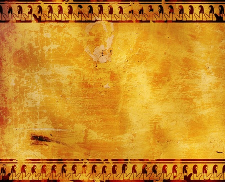 Background with Egyptian symbols. Stucco texture photo