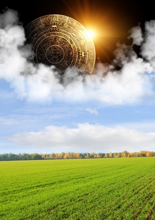 Vertical background with Maya calendar and autumn landscape photo