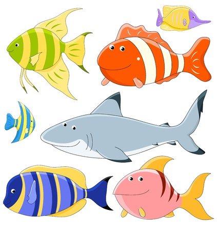 Vector collection of cute fish  Vector