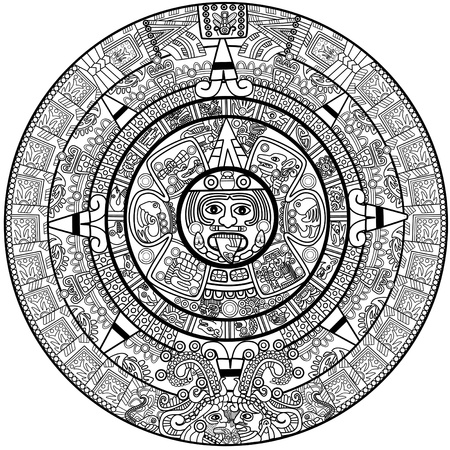 mayan culture: Vector Maya calendar - over white Illustration