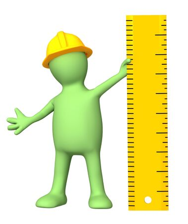 3d builder with ruler. Isolated over white Stock Photo - 9156231