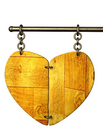 Wooden signboard in the form of heart photo