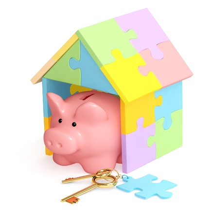Piggy bank, house and keys. Isolated over white photo