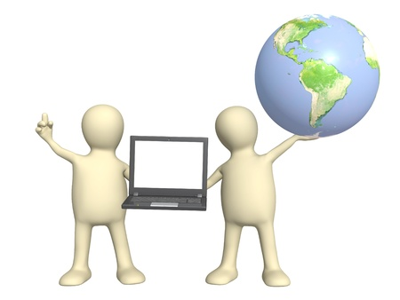 3d puppets with laptop and Earth. Isolated over white photo