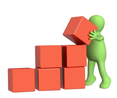 3d puppet, installing boxes of red color Stock Photo - 9156221