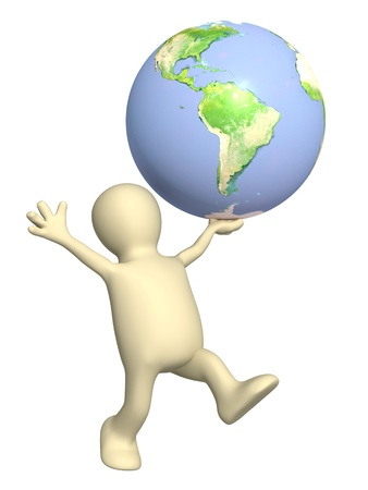 Puppet with Earth. Isolated over white photo