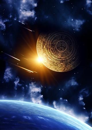 meteor: Vertikale Hintergrund mit Maya-Kalender und Erde