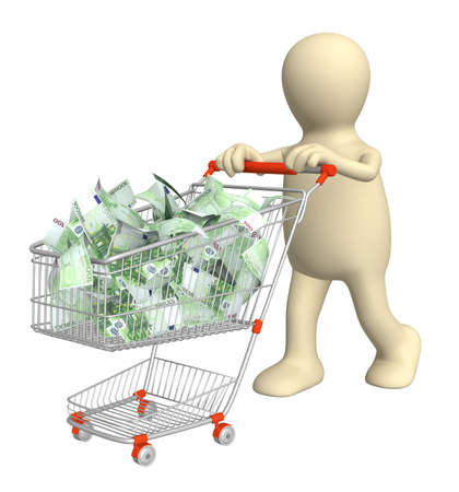 Puppet with shopping cart and euro. Isolated over white Stock Photo - 9249846
