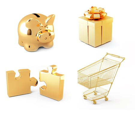 Collection of gold icons. Objects isolated over white photo