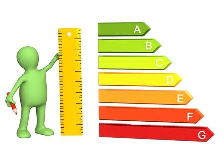 eficiencia energetica: 3D t�tere con calificaci�n de eficiencia de energ�a y gobernante
