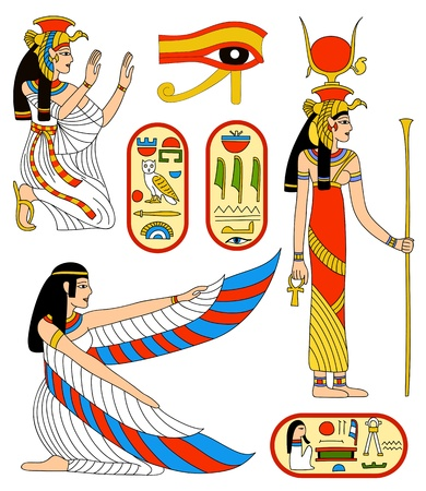 egyptian woman: Vector collection - Egyptian goddess Isis