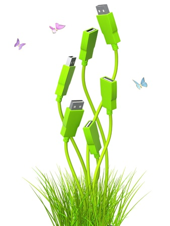 usb: Conceptual image - green technology. 3d Stock Photo