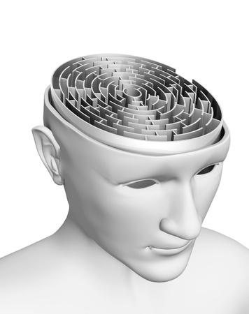 cognicion: Cerebro en forma de laberinto Foto de archivo