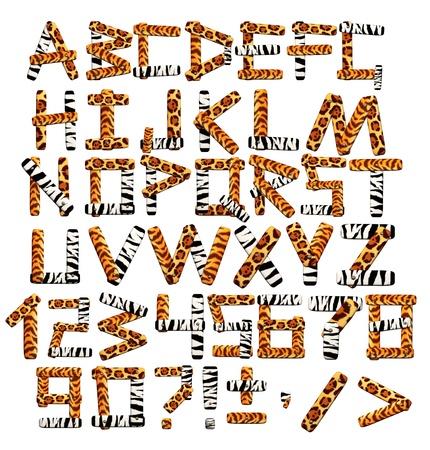 giraffe skin: Alphabet in style of a safari