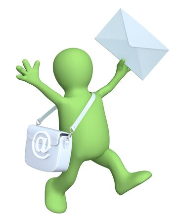 3d puppet a symbol email and letter. Isolated over white Stock Photo - 9312410