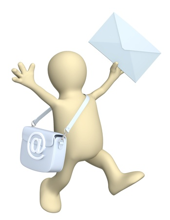 spam mail: 3d puppet a symbol email and letter. Isolated over white