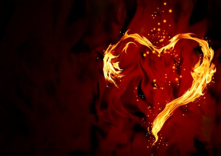 burning love: Bright flame in the form of heart