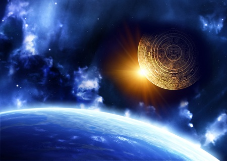 mayan prophecy: Horizontal background with Maya calendar and Earth