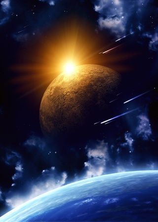 Space flare. A beautiful space scene with planets and nebula Stock Photo - 9312423