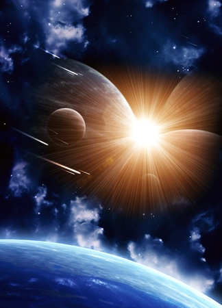 Space flare. A beautiful space scene with planets and nebula Stock Photo - 9312424