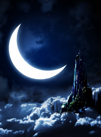 fantasy alien: Night fairy-tale. Fantasy landscape with castle