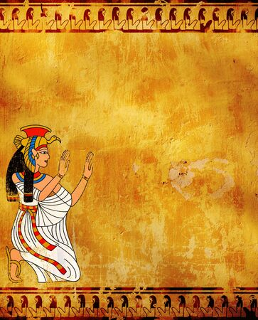 egyptian mummy: Wall with Egyptian goddess image - Isis Stock Photo