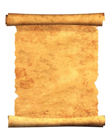 oud document: Blader van oud perkament. Object geà ¯ soleerde over witte Stockfoto
