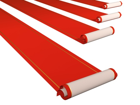 Four red carpets. Objects isolated over white photo