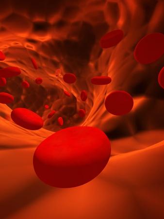 erythrocyte: Molti eritrociti rosso, che galleggia su una arteria