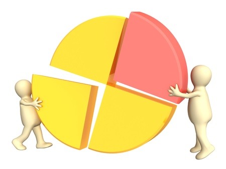 two piece: Two puppets, making the round diagram. Isolated over white