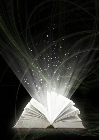 opened: Vertical background of black color with magic book