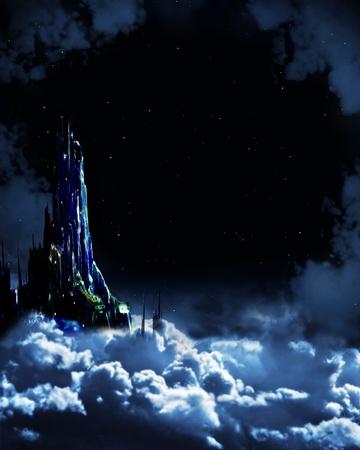 castle rock: Noche de cuento de hadas. Paisaje de fantas�a con castillo