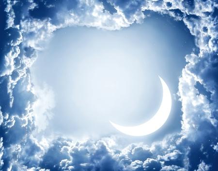 Night fairy tale - bright moon in the night sky photo
