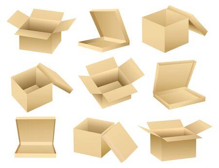 cajas de carton: Colecci�n de vector de cajas vac�as abiertas