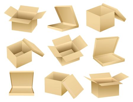 cardboard: Vector collection of open empty boxes