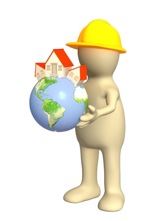 3d puppet: Builder - puppet, holding in hands Eartn with stylized house