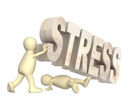 stressed man: Conceptual image - hostage of the stress Stock Photo