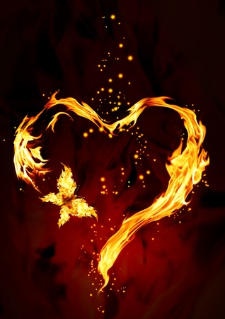 Bright flame in the form of heart photo