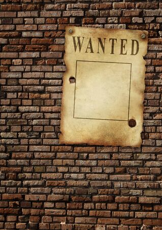 outlaw: The wild West. Old poster on brick wall Stock Photo